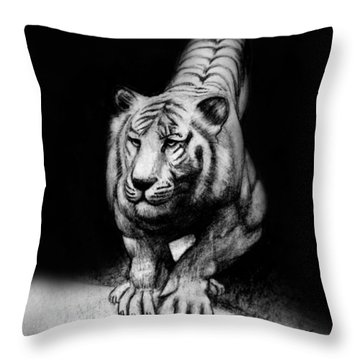 Throw Pillow featuring the drawing Tiger Study by Kim Gauge