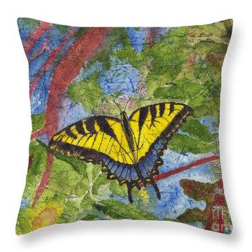 Tiger Swallowtail Watercolor Batik On Rice Paper Throw Pillow