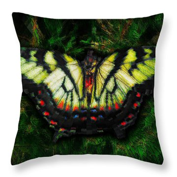 Throw Pillow featuring the photograph Tiger Swallowtail by Iowan Stone-Flowers