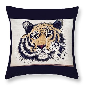 Tiger Tiger Burning Bright Throw Pillow