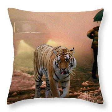 Tiger Walking Down A Snow Slushy Street Throw Pillow