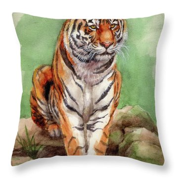 Tiger Watercolor Sketch Throw Pillow