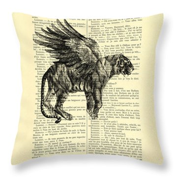 Tiger With Angel Wings In Black Ad White Throw Pillow