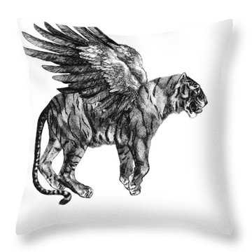 Tiger With Wings, Black And White Illustration Throw Pillow