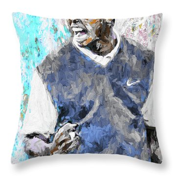Tiger Woods One Blue Golfer Digital Art Throw Pillow