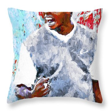 Throw Pillow featuring the photograph Tiger Woods One Two Red Painting Digital by David Haskett