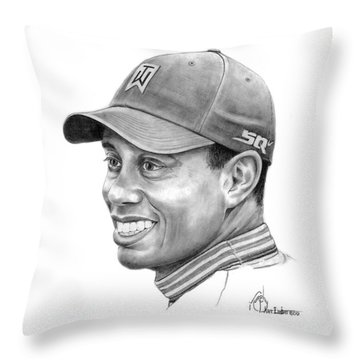 Tiger Woods Smile Throw Pillow by Murphy Elliott