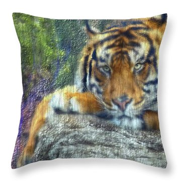 Tigerland Throw Pillow by Michael Cleere