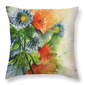 Tigerlilies And Cornflowers Throw Pillow by Lucia Grilletto