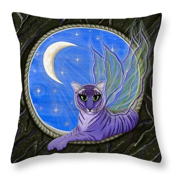 Throw Pillow featuring the painting Tigerpixie Purple Tiger Fairy by Carrie Hawks