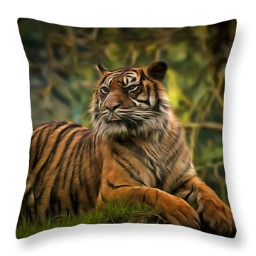 Throw Pillow featuring the photograph Tigers Beauty by Scott Carruthers