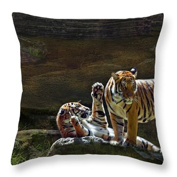 Tigers In The Night Throw Pillow