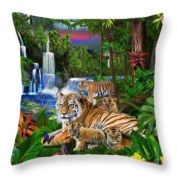 Tigers Of The Forest Throw Pillow