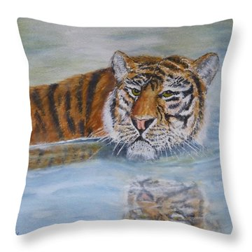 Throw Pillow featuring the painting Tigers Reflection by Kelly Mills