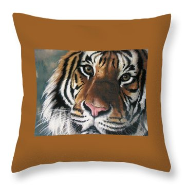 Throw Pillow featuring the pastel Tigger by Barbara Keith