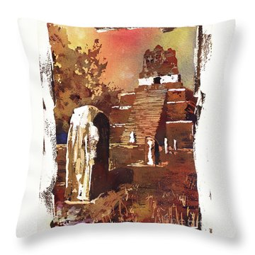 Throw Pillow featuring the painting Tikal Mayan Ruins- Guatemala by Ryan Fox