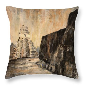 Throw Pillow featuring the painting Tikal Ruins- Guatemala by Ryan Fox