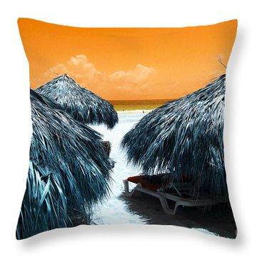 Throw Pillow featuring the photograph Tiki View Pop Art by John Rizzuto