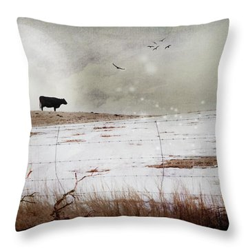 Throw Pillow featuring the photograph 'til The Cows Come Home by Theresa Tahara