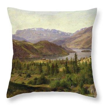 Tile Fjord Throw Pillow by Louis Gurlitt
