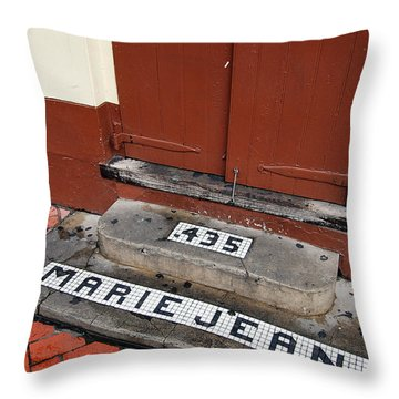 Tile Inlay Steps Marie Jean 435 Wooden Door French Quarter New Orleans Throw Pillow by Shawn O'Brien