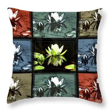 Tiled Water Lillies Throw Pillow
