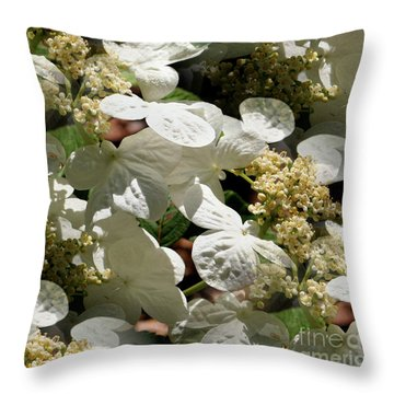 Throw Pillow featuring the photograph Tiled White Lace Cap Hydrangeas by Smilin Eyes  Treasures
