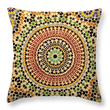 Throw Pillow featuring the photograph Tiles Of Fez by Ramona Johnston