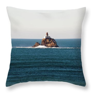 Tillamook Rock Lighthouse On A Calm Day Throw Pillow