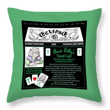 Real Fake News Tilly's Travel Card Throw Pillow by Dawn Sperry