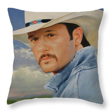 Throw Pillow featuring the painting Tim Mcgraw by Cliff Spohn