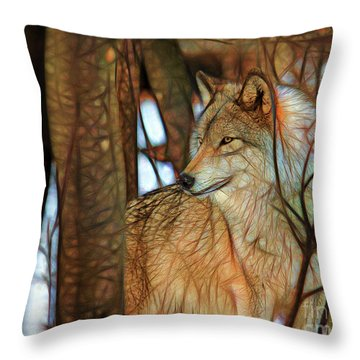 Timber Wolf Colorful Art Throw Pillow