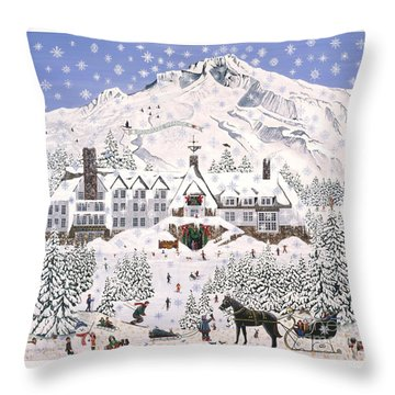 Timberline Lodge Throw Pillow by Jennifer Lake