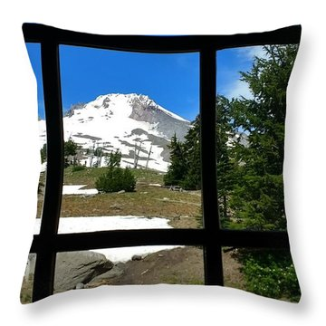 Timberline Lodge View Throw Pillow