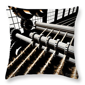 Throw Pillow featuring the digital art Time Aerials Industrial Revolutions by Russell Kightley