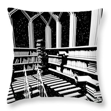 Throw Pillow featuring the digital art Time Aerials Mind Library by Russell Kightley
