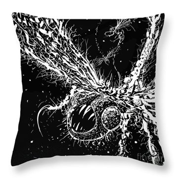 Throw Pillow featuring the digital art Time Aerials Squamafly Woodcut by Russell Kightley