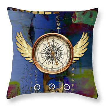Throw Pillow featuring the mixed media Time Flies by Marvin Blaine