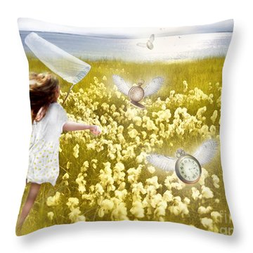 Time Flys When You're Having Fun Throw Pillow by Carrie Jackson