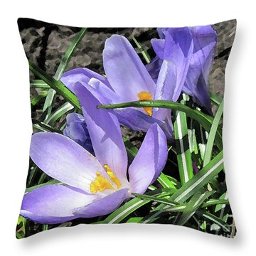 Time For Crocuses Throw Pillow
