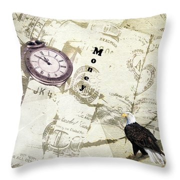 Time Is Money Throw Pillow by Diane Schuster