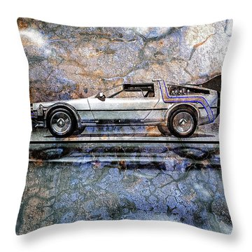 Time Machine Or The Retrofitted Delorean Dmc-12 Throw Pillow by Bob Orsillo