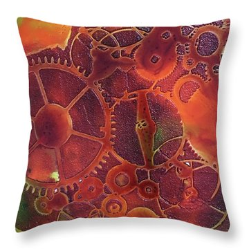 Throw Pillow featuring the painting Time Marches On by Suzanne Canner