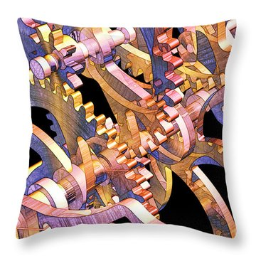 Time Mechanics V1 Throw Pillow by Michael Geraghty