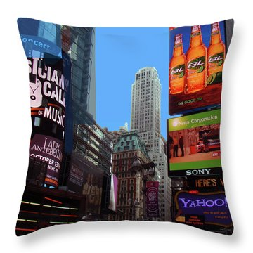 Throw Pillow featuring the photograph Times Square 2 by Walter Fahmy