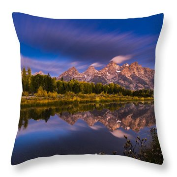 Time Stops Over Tetons Throw Pillow