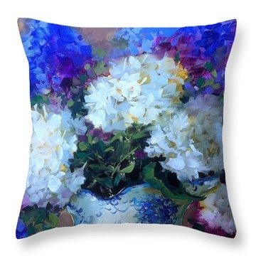 Time To Dream White Hydrangeas Throw Pillow by Nancy Medina