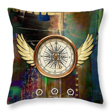 Throw Pillow featuring the mixed media Time To Fly by Marvin Blaine