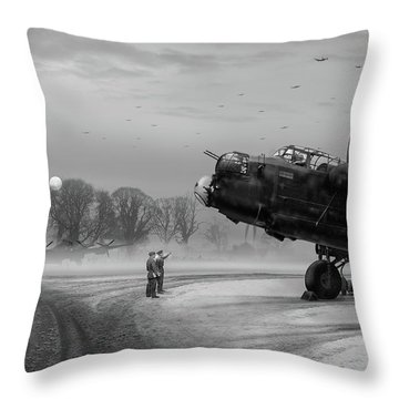 Throw Pillow featuring the photograph Time To Go - Lancasters On Dispersal Bw Version by Gary Eason