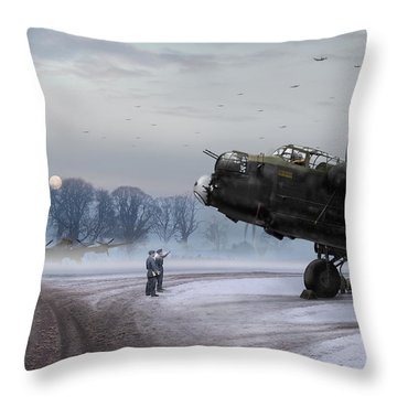 Time To Go - Lancasters On Dispersal Throw Pillow